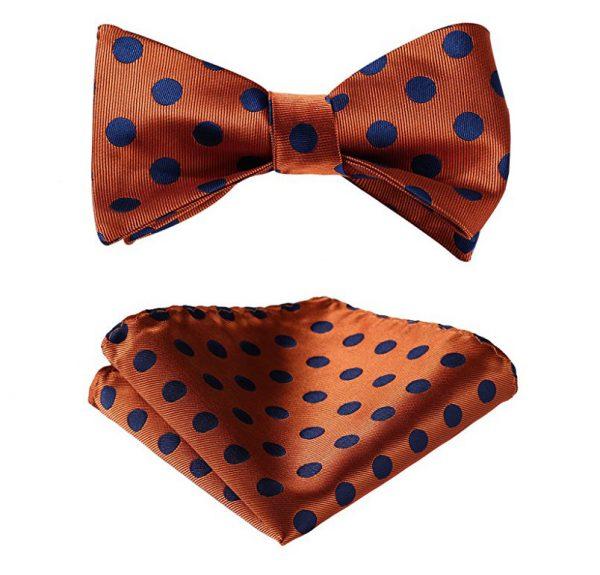 Orange Polka Dot Bow Tie Set