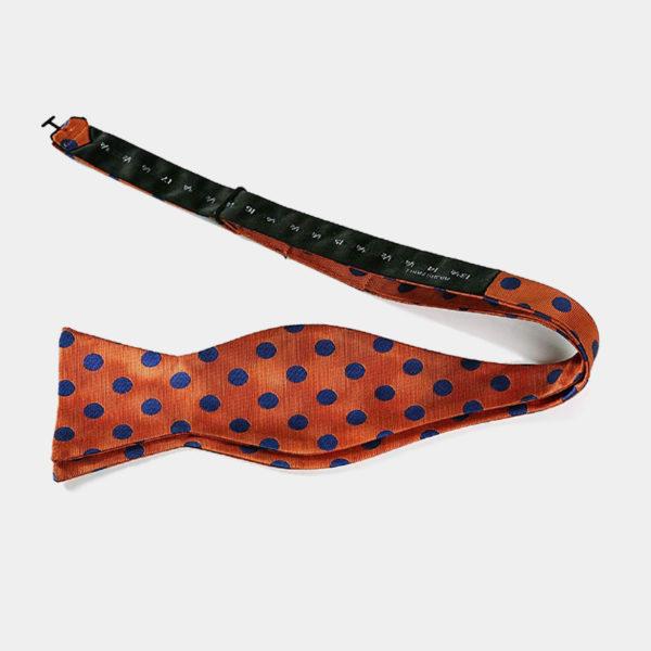 Orange Polka Dot Self-Tie Bow Tie from Gentlemansguru.com