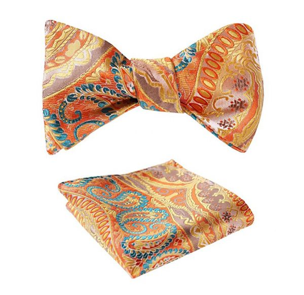 Peach Paisley Bow Tie And Pocket Square