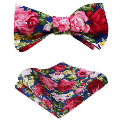 Pink And Blue Floral Bow Tie Set