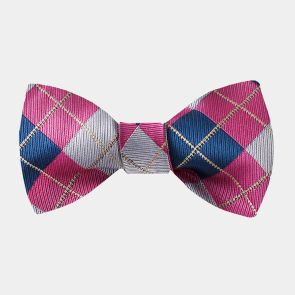 Pink And Blue Plaid Bow Tie For Sale from Gentlemansguru.com
