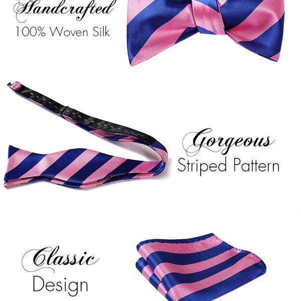 Pink And Blue Striped Bow Tie & Pocket Square Set from Gentlemansguru.com