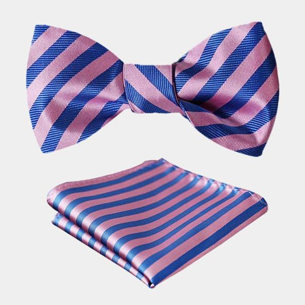 Pink And Blue Striped Bow Tie Set from Gentlemansguru.com