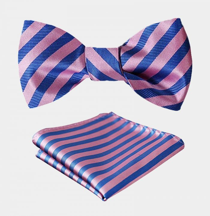 Pink And Blue Striped Bow Tie Set from Gentlemansguru.com
