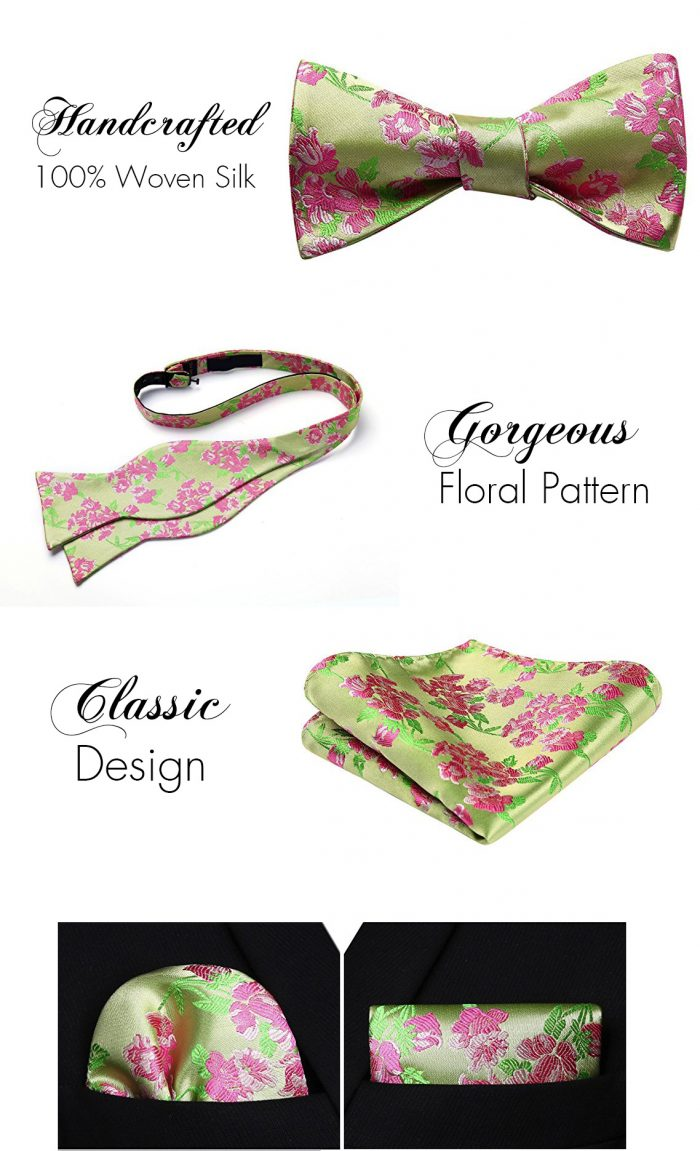Pink And Green Floral Bow Tie And Pocket Square