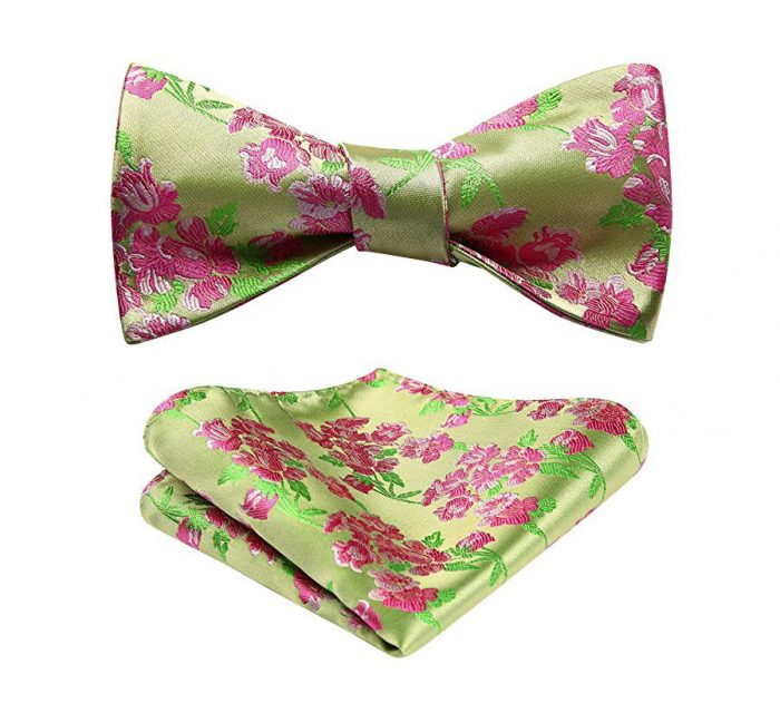 Pink And Green Floral Bow Tie Set