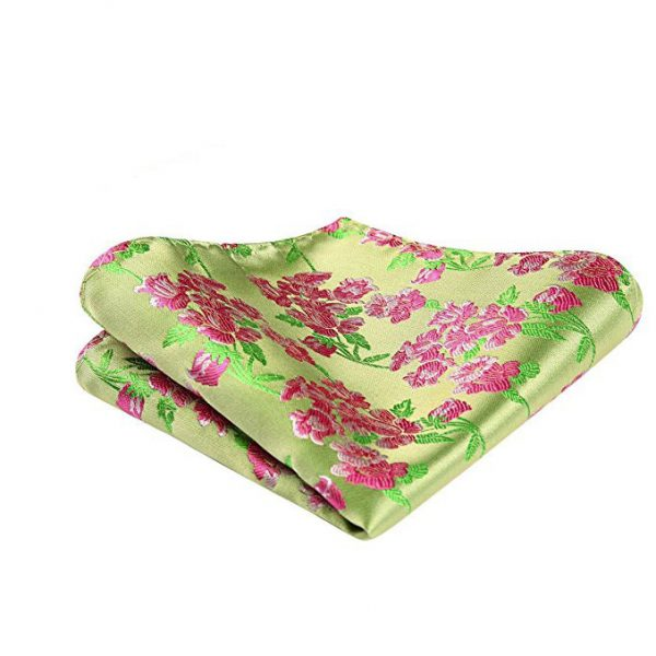 Pink And Green Floral Pocket Square
