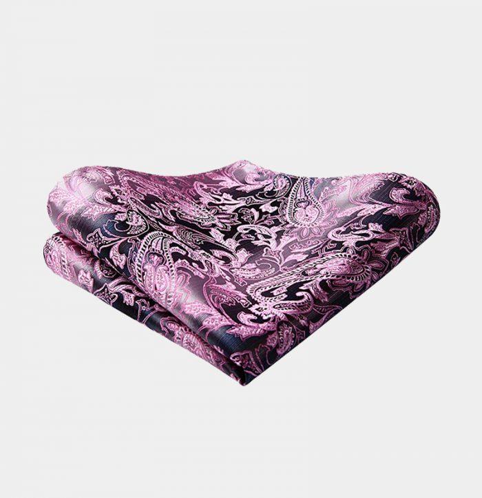 Pink And Silver Paisley Pocket-Square-Handkerchief from Gentlemansguru.com