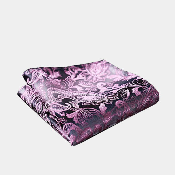 Pink And Silver Paisley Pocket Square-Handkerchief from Gentlemansguru.com