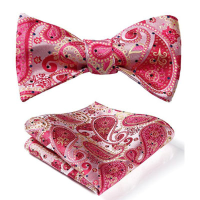 Light Pink Paisley Bow Tie And Pocket Square