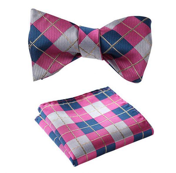 Pink Plaid Bow Tie Set