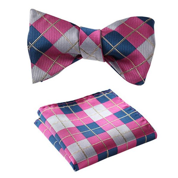 Pink Plaid Bow Tie Set