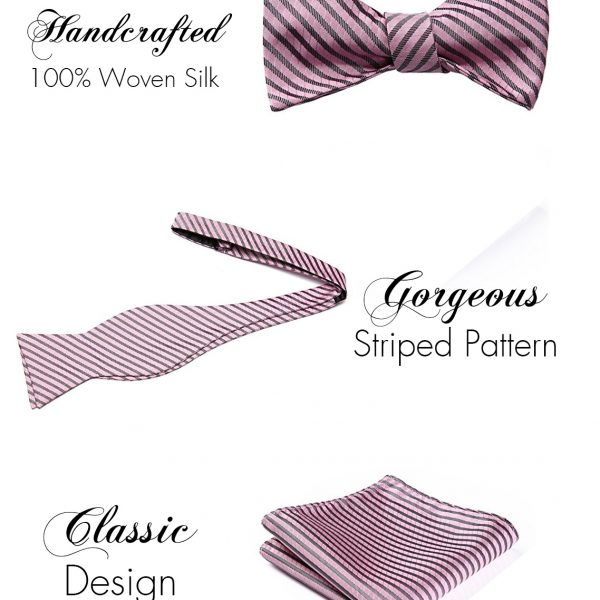 Pink Striped Bow Tie And Pocket Square Set from Gentlemansguru.com