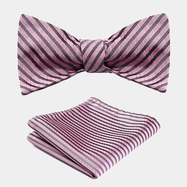 Pink Striped Bow Tie Set from Gentlemansguru.com