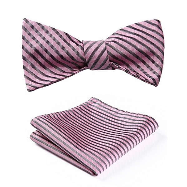 Pink Striped Bow Tie Set