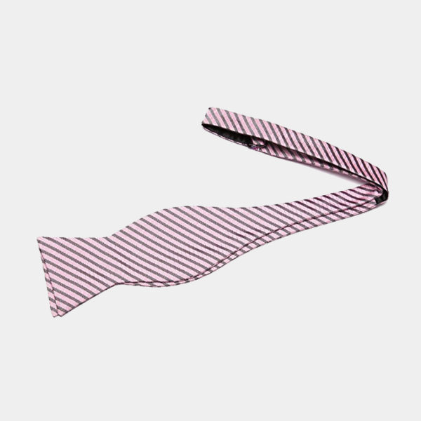 Pink Striped Self-Tie Bow Tie For Men from Gentlemansguru.com