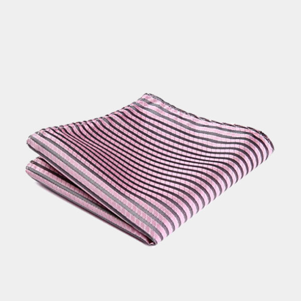 Pink Striped Square-Handkerchief from Gentlemansguru.com