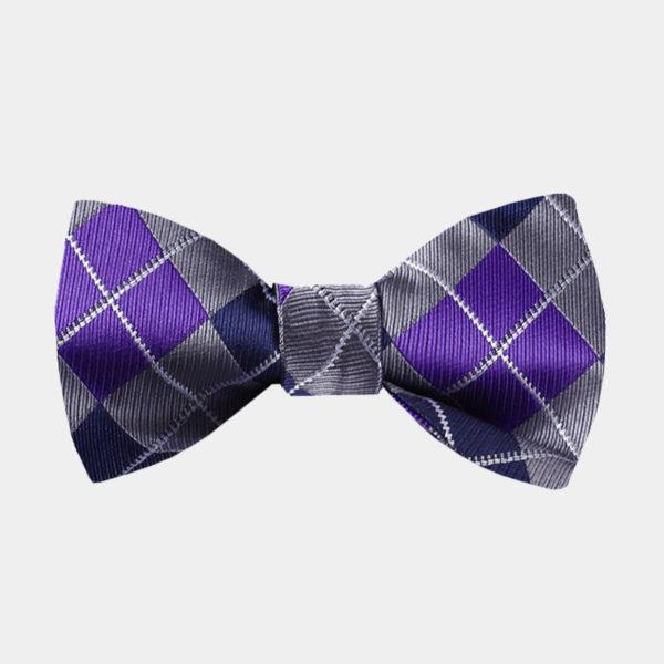 Purple And Gray Plaid Bow Tie For Sale from Gentlemansguru.com