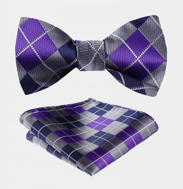 Purple And Gray Plaid Bow Tie Set from Gentlemansguru.com