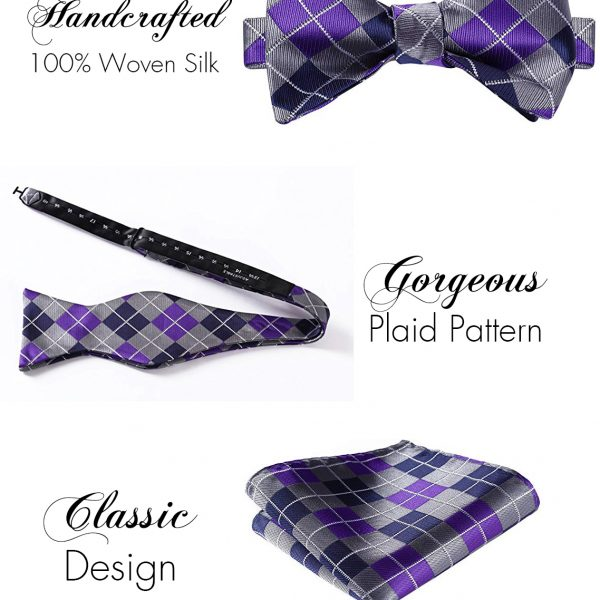 Purple And Gray Plaid Bow Tie Sets