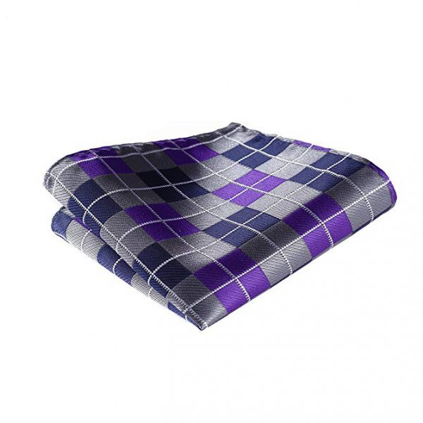 Purple And Gray Plaid Pocket Square