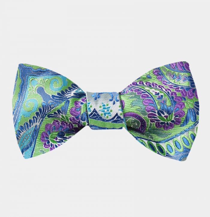 Purple And Green Floral Bow Tie For Men from Gentlemansguru.com