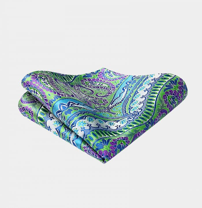 Purple And Green Paisley Pocket-Square-Handkerchief from Gentlemansguru.com