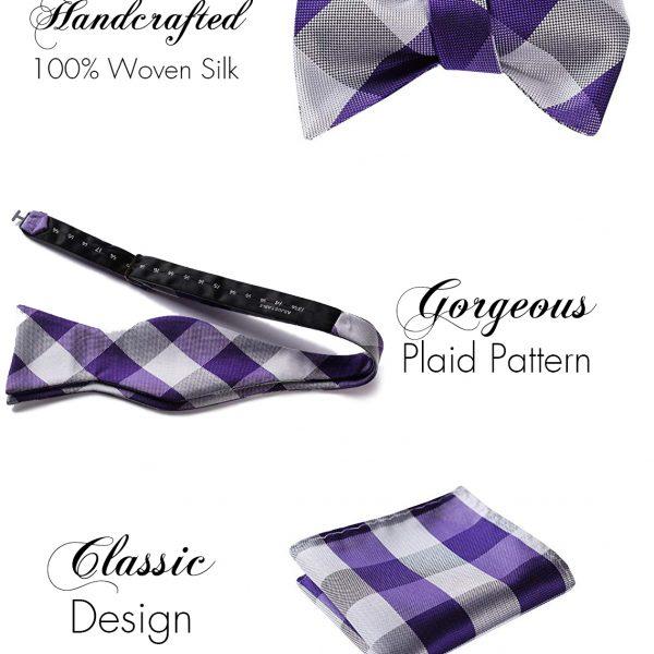 Purple Plaid Bow Tie And Pocket Square Set