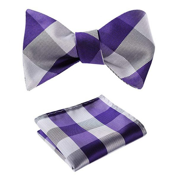 Purple Plaid Bow Tie And Set