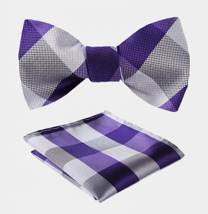 Purple-Plaid-Plaid Bow Tie Set-from Gentlemansguru.com