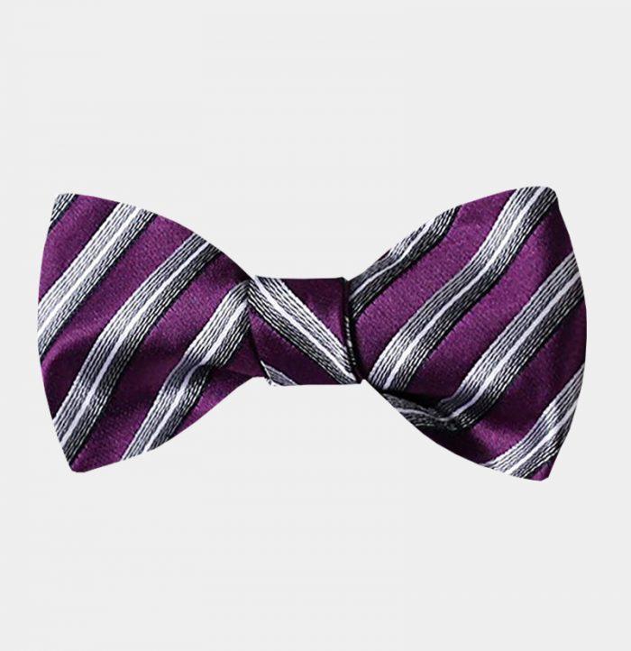 Purple Striped Bow Tie For Men from Gentlemansguru.com