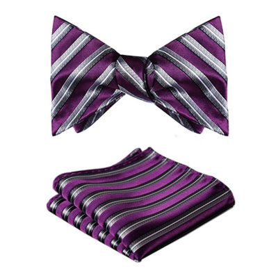 Purple Striped Bow Tie Set