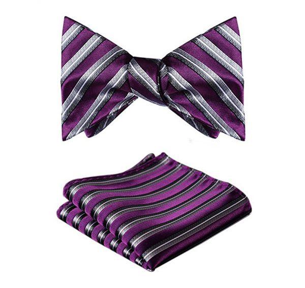 Purple Striped Bow Tie Set