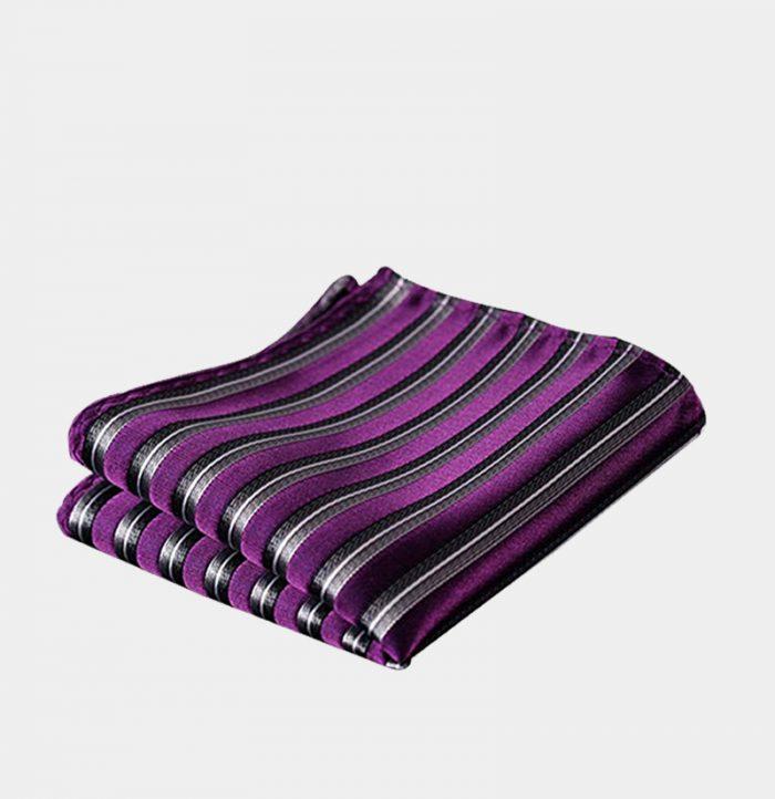 Purple Striped Pocket Square-Handkerchief from Gentlemansguru.com