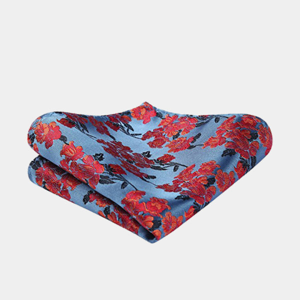 Red And Blue Floral Pocket Square-Handkerchief from Gentlemansguru.com