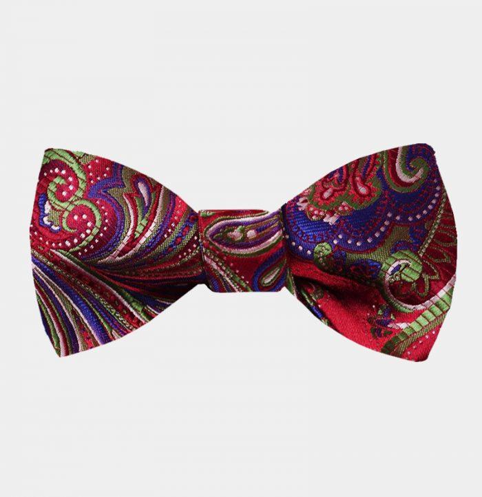 Red And Purple Paisley Bow Tie For Men from Gentlemansguru.com