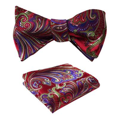 Red And Purple Paisley Bow Tie