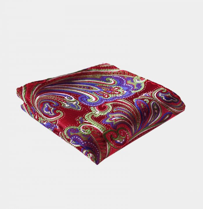 Red And Purple Paisley Pocket-Square-Handkerchief from Gentlemansguru.com