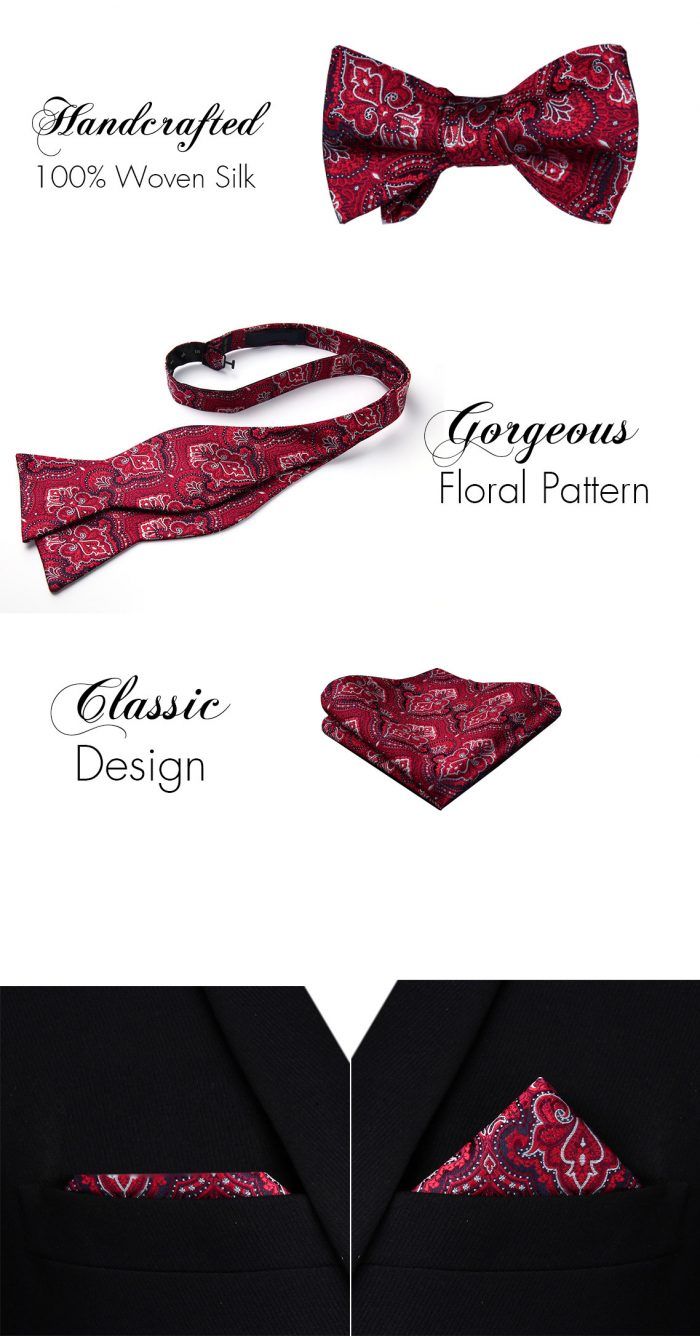 Red Floral Bow Tie And Pocket Square Set