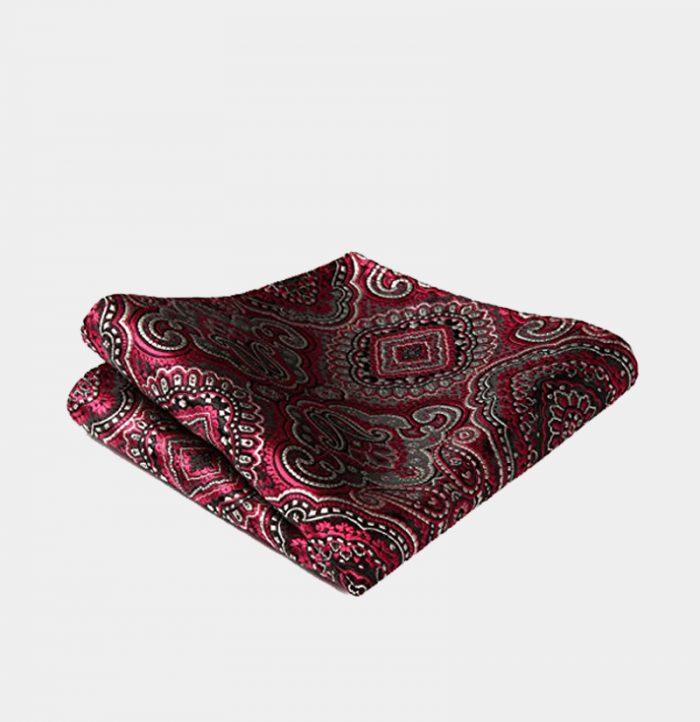 Red Paisley Pocket Square-Handkerchief from Gentlemansguru.com