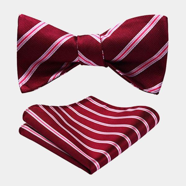 Red Striped Bow Tie Set from Gentlemansguru.com