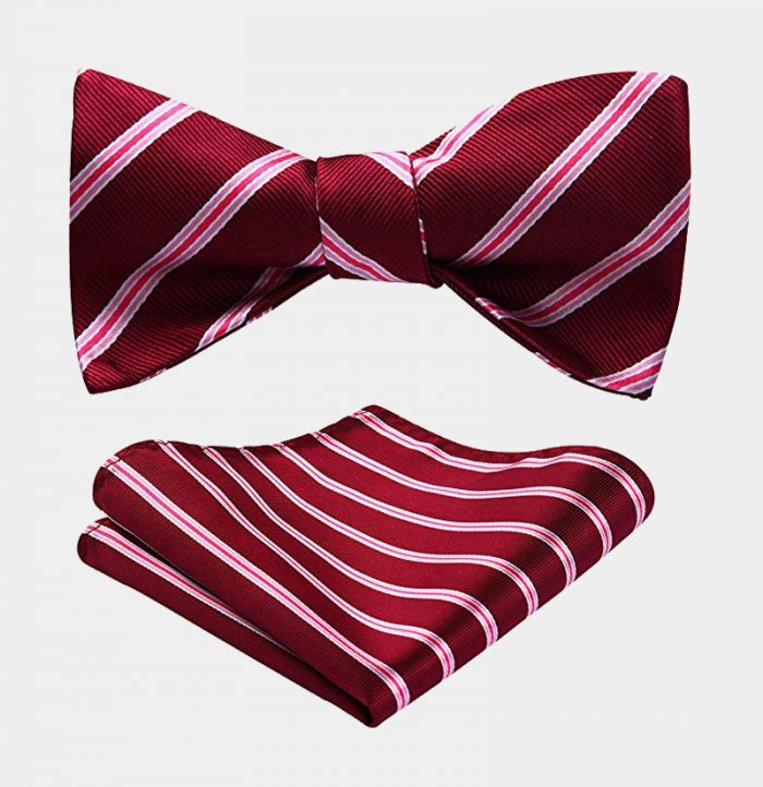 Red Striped Bow Tie Set from Gentlemansguru.com