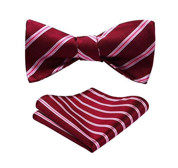 Red Striped Bow Tie Set