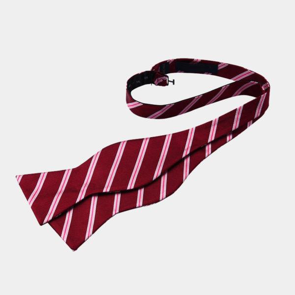 Red Striped Self-Tie Bow Tie For Men from Gentlemansguru.com
