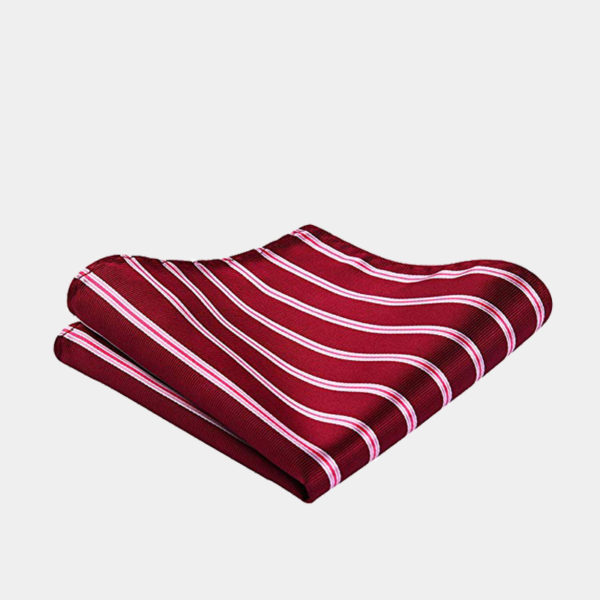 Red Striped Pocket Square-Handkerchief from Gentlemansguru.com