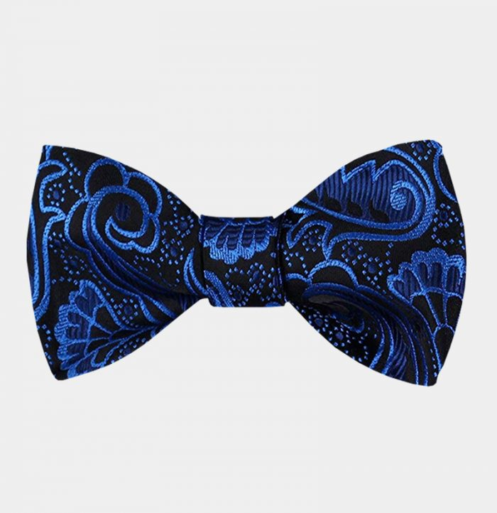 Royal Blue And Black Paisley Bow Tie For Men from Gentlemansguru.com