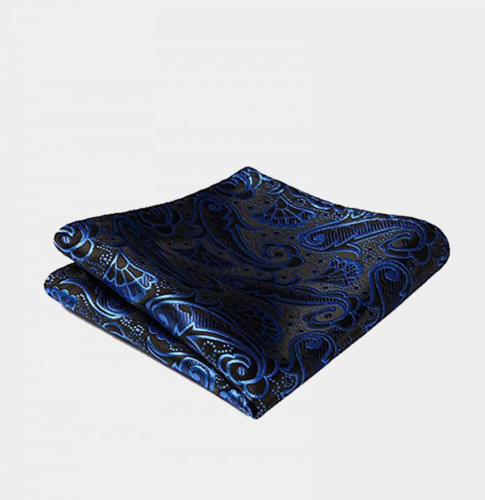 Royal Blue And Black Paisley Pocket-Square-Handkerchief from Gentlemansguru.com