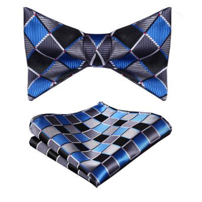 Blue And Black Plaid Bow Tie Set
