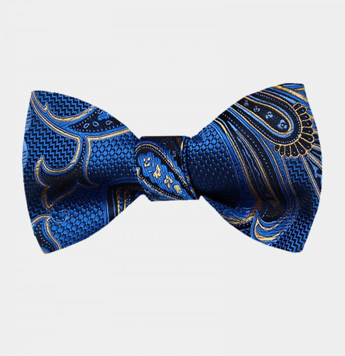 Royal Blue And Gold Bow Tie For Men from Gentlemansguru.com
