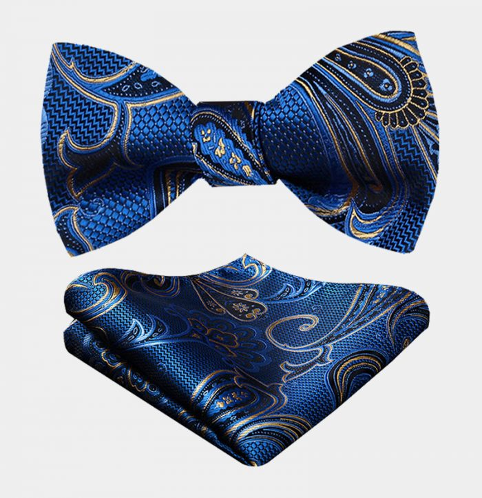 Royal Blue Floral Bow Tie Set With Gold Design from Gentlemansguru.com